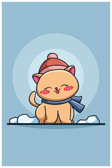 Cute and happy winter cat cartoon illustration