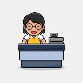 Cute happy woman cashier