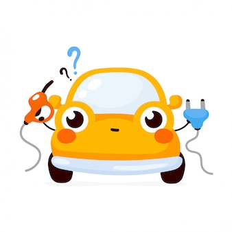Cute happy yellow automobile car choosing between gas and electric.  flat cartoon character illustration icon .isolated on white . automobile car character