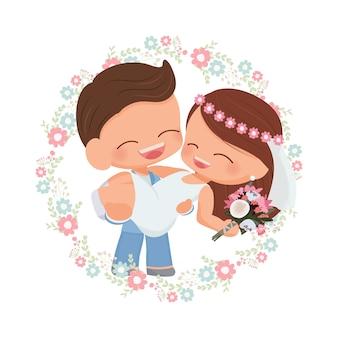 花の花輪で花嫁を運ぶ青いスーツのかわいい幸せな若い結婚式カップル新郎