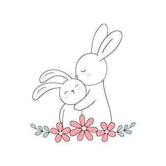 Милый заяц и кролик мама кролик и кролик любовь мама поздравительная открытка ко дню матери