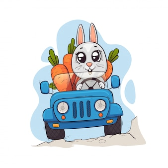 A cute hare drives a car with a carrot