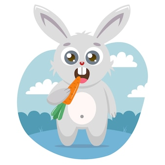 A cute hare holds a carrot in its paw and eats
