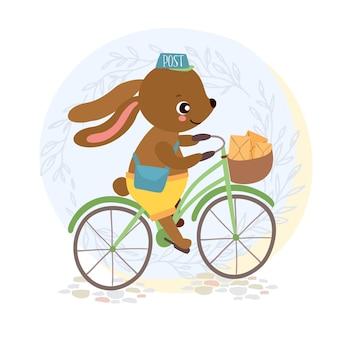 귀여운 토끼 우편 배달부