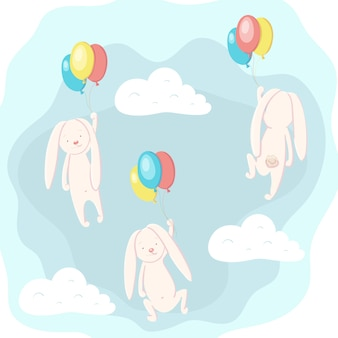 Cute hare and rabbit flying in the sky on balloons