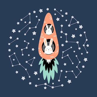 Cute hares on a carrot rocket in space
