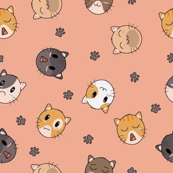 Cute hat of cat seamless pattern design