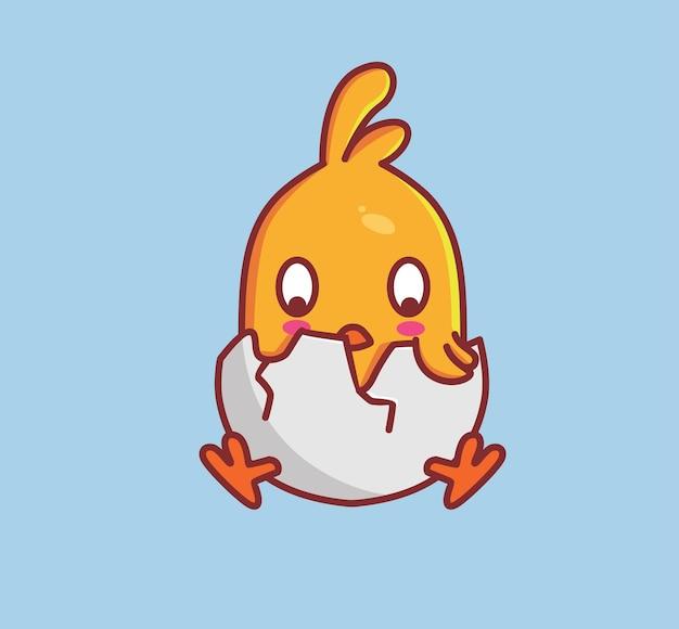 卵殻からのかわいい孵化ひよこ。動物漫画分離フラットスタイルステッカーウェブデザインアイコンイラストプレミアムベクトルロゴマスコットキャラクター