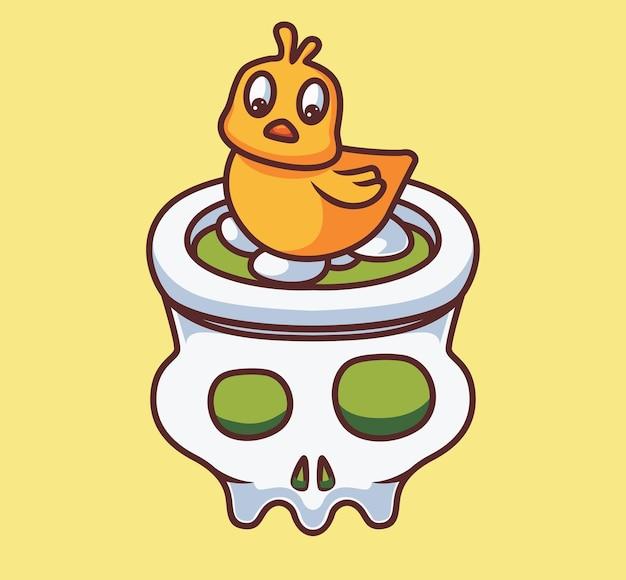 頭蓋骨にかわいい孵化卵。孤立した漫画の動物のハロウィーンのイラスト。ステッカーアイコンデザインプレミアムロゴベクトルに適したフラットスタイル。マスコットキャラクター