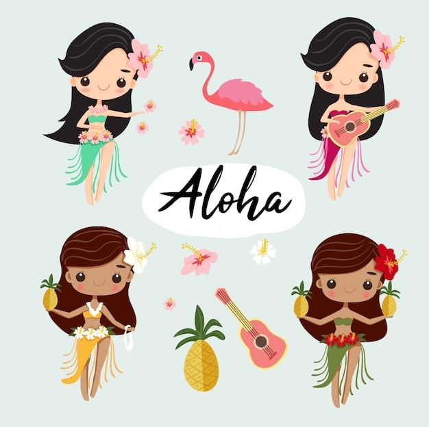 여름을위한 귀여운 하와이안 훌라 걸스 댄스