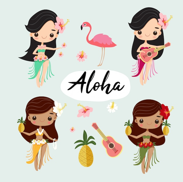 Cute hawiian hula girl dance for summer