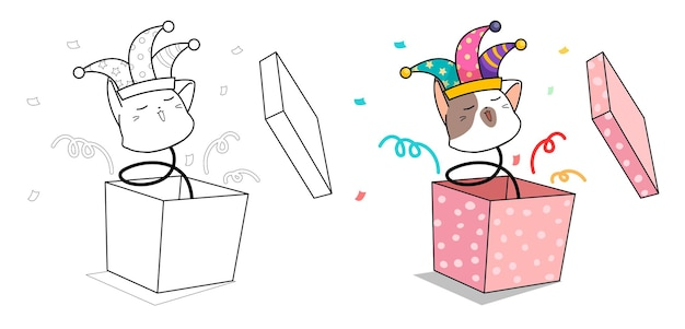 Cute head cat in hapiness box cartoon coloring page