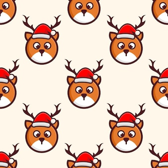 Cute head deer with hat christmas pattern design