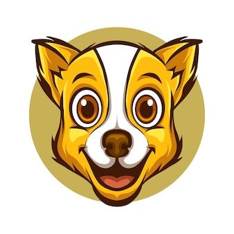 Симпатичная голова собаки очаровательный шаблон иллюстрации талисмана