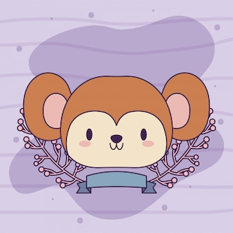 Cute head of monkey baby kawaii with decor