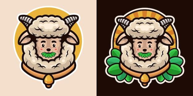풀을 먹고 종 목걸이 마스코트를 착용하는 양 캐릭터의 귀여운 머리
