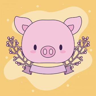 귀여운 머리 돼지 아기 동물 귀엽다