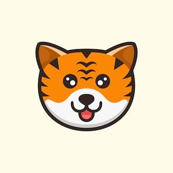 Cute head tiger cartoon design