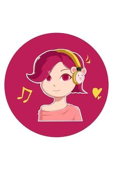 귀여운 헤드폰 소녀 만화 그림