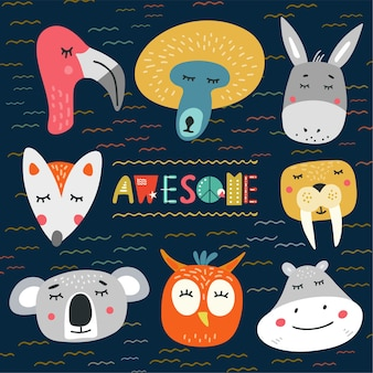 Cute heads of animals vector illustration. design element, clipart with hand drawn cartoon flamingo, owl, fox, koala