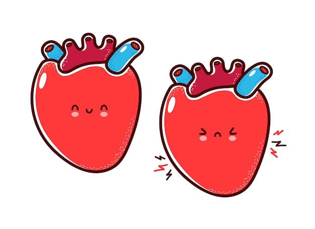 귀여운 건강하고 아픈 슬픈 재미 있은 인간의 심장 기관 문자