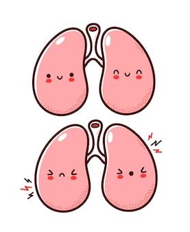 かわいい健康で病気の悲しい面白い人間の肺器官のキャラクター