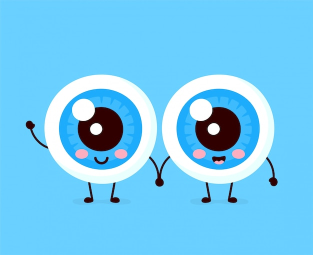 Cute healthy happy human eyeballs couple character.