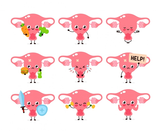 Cute healthy happy women uterus organ character set collection.