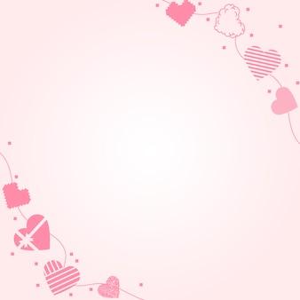 귀여운 하트 테두리 프레임 벡터, 분홍색 배경 디자인