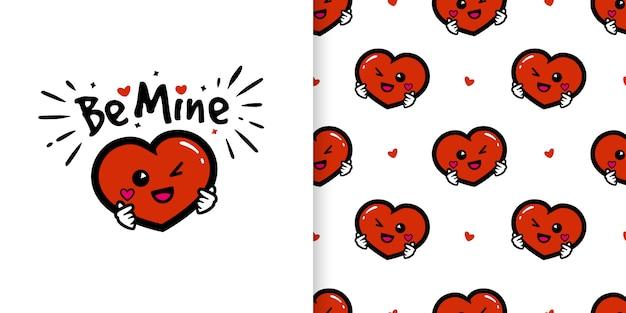 Милый мультипликационный персонаж сердца с любовью рука подписывает иллюстрации и бесшовные модели