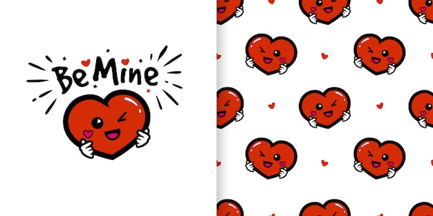 Cute heart cartoon character with love hand signs illustration and seamless pattern