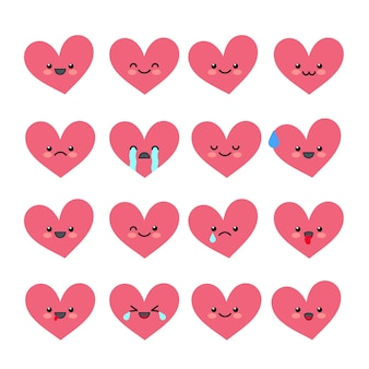 Cute heart emoticons set various emotions of the character collections valentine s avatar