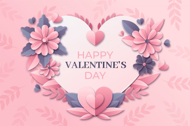 Милое сердце в бумажном стиле. день святого валентина открытки в бумажном стиле с цветами.
