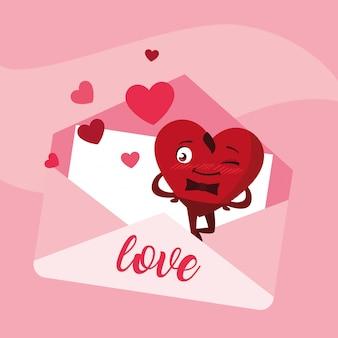 Cute heart male in envelope character