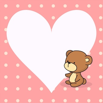 Cute heart note with cute baby bear