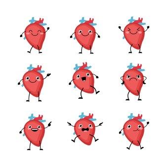 Симпатичный набор символов сердечных органов в плоском мультяшном стиле.