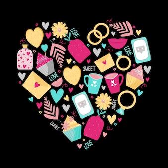 Симпатичный принт в виде сердца на день святого валентина или свадьбу. на темном фоне телефон, любовные письма, надписи, банки с сердечками. векторная иллюстрация.