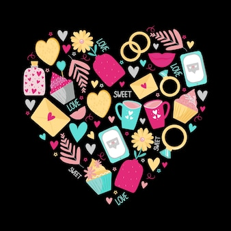 Cute heart print for valentine's day or wedding. on a dark background telephone, love letters, inscriptions, banks with hearts. vector illustration.