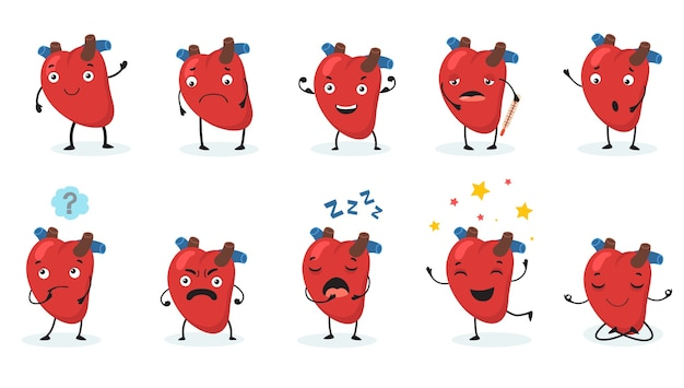 Cute heart set. human organ with face and different emotions, happy, sad, angry, sick and healthy cartoon character. v