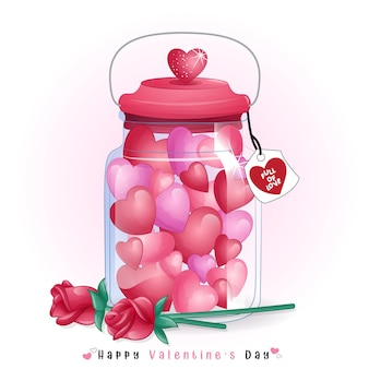 발렌타인 병 안에 귀여운 하트 모양 사탕