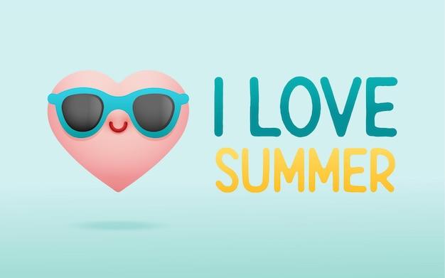 かわいい心の夏の背景