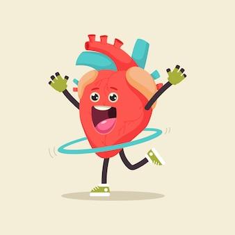 フラフープでフィットネス運動をしているかわいいハート。背景に分離された人間の内臓の漫画のキャラクター。 Premiumベクター