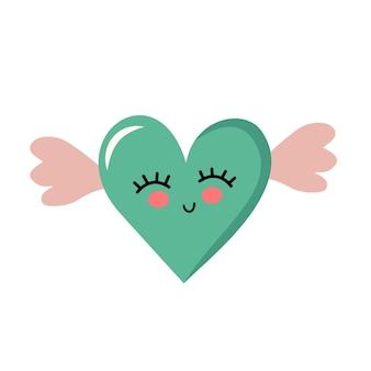 翼のあるかわいいハート、目で笑顔。クリップ・アート