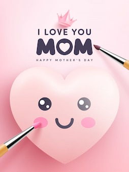 Cute hearts and cartoon emoticon painting on pink