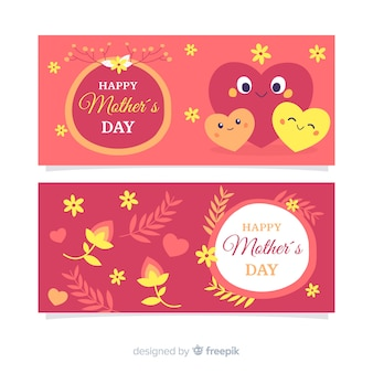 Cute hearts mother's day banner