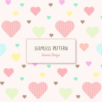 Cute hearts transparent seamless pattern