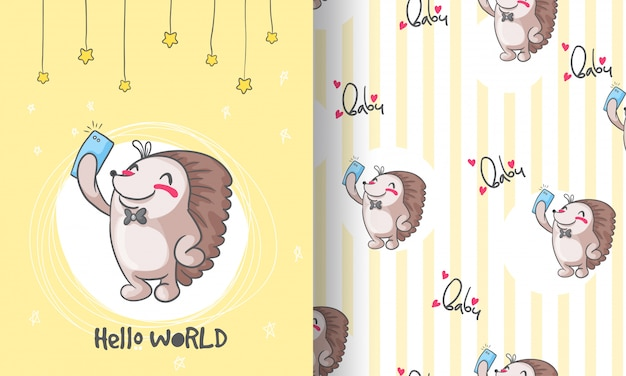 Cute hedgehog  animal seamless pattern illustration for kids