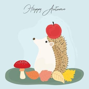Cute hedgehog in autumn. hello autumn cute card. vector.