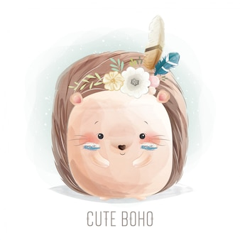Cute hedgehog in boho style