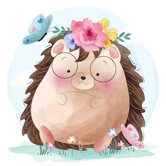 Cute hedgehog and butterflies